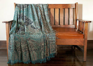 Blue-Jacquard-Throw-or-Bedspread-100-SilkPaisley-Jamavar-Shawl-Wrap-Home-Decor