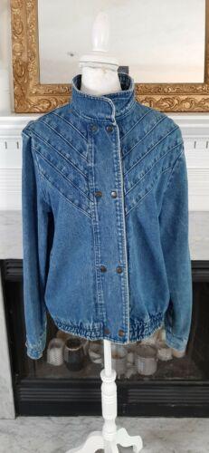 Vintage 80s Blue Pleated Denim Jacket Large