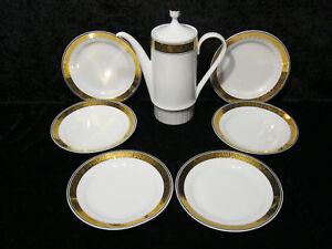 8-tlg-Konvolut-Kaffeeservice-Kahla-Porzellan-DDR-um-1970-Weiss-mit-Goldrand