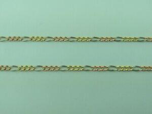 "14K Solid Gold tri color Figaro Chain  necklace 18/"" 3 Tone 14K Gold Figaro chain"