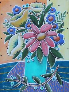 Spring-Is-Here-16-x-12-ORIGINAL-PAINTING-FOLK-ART-PRIM-flowers-art-Karla-Gerard
