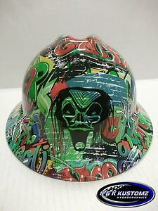 New Custom MSA V-Gard (Full Brim) Hard Hat W/Fas-Trac Ratchet Graffiti Pattern