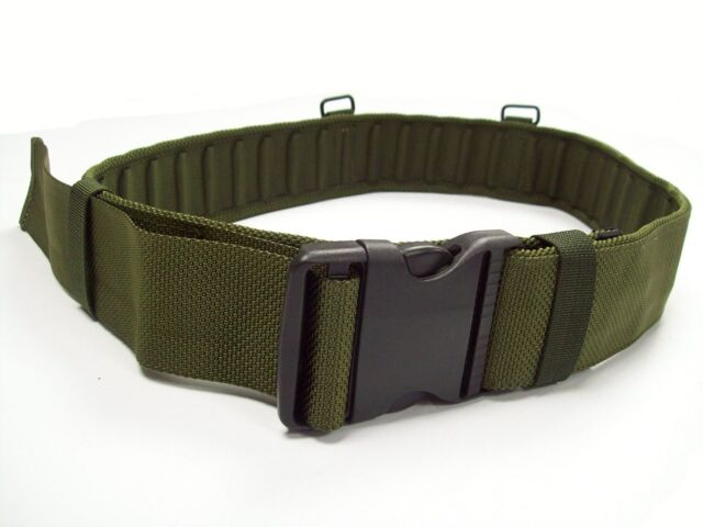 """NEW - Army Issue OLIVE GREEN PLCE Webbing Belt - Size LARGE - fits 38-42"""" Waist"""