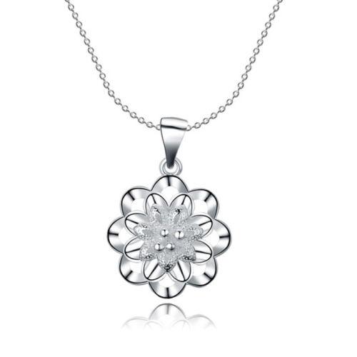 con plata Sterling Señora cuello cadena colgante flor de 20 mm 45cm PL