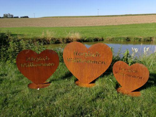 Deko Toll!! Herz aus Metall- Herzlich Willkommen Edel-Rost Garten Terrasse