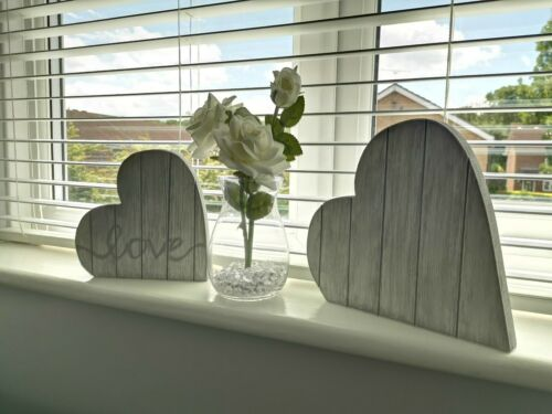 Love Wooden Standing Double Rustic Shabby Chic Hearts Grey Home Decor