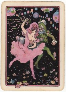 Playing-Cards-Single-Card-Old-Wide-MASKED-BALL-PARTY-Lady-Girl-Clown-Dancing-Art