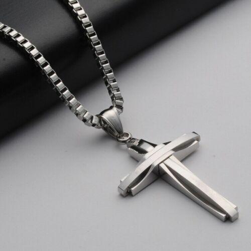 Luxus Anhänger Kreuz mit Halskette 50cm Edelstahl Kette Panzerkette Damen Herren