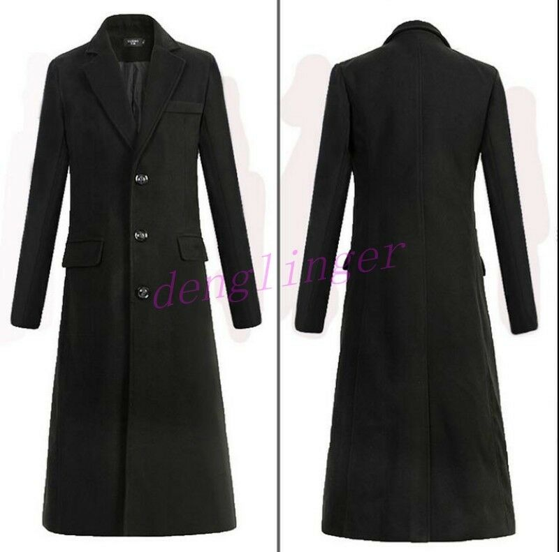 Mens Single-breasted Lapel Warm Wool Blend Parkas Fit Trench Long Coats Overcoat