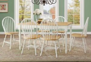 Details About Dining Table Set 6 Person Wood Farmhouse Rustic Country  Kitchen Chairs Room Oak