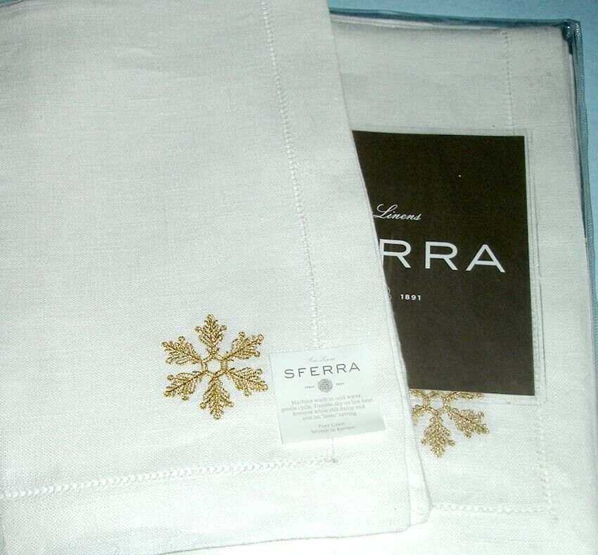 Sferra FROST Weiß Linen Dinner Napkins Gold Snowflake Embroidery SET 4 New