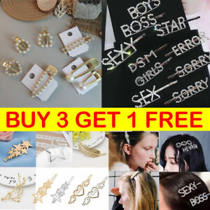 Women-039-s-Girls-Lady-Crystal-Letter-Pearl-Hair-Clip-Gold-Hairpin-Hair-Slide-Grips