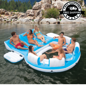 Bon Details About Large 7 Person Inflatable Floating Island Lounge Raft Oasis  Lake Boat River Pool