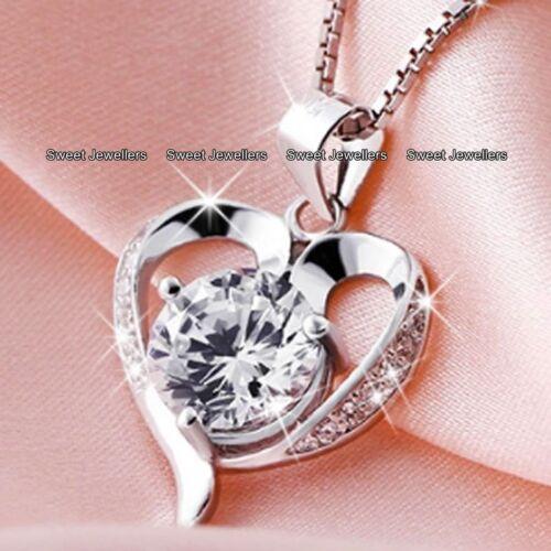 Corazón De Plata Diamante Collares Amor esposa hermana Navidad presente Regalos Para Ella para Mujer
