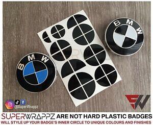 Noir-Brillant-Deux-pour-BMW-Badge-Embleme-Superpose-Autocollant-Coupe-Jantes