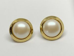 Estate Art Deco Round Pearls Gold Metal