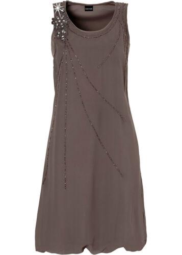 Belle Robe Avec Perles Ornement dans Brun Moyen-Taille 34-q11-929261