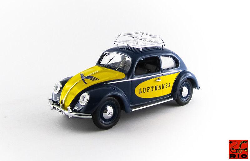 Volkswagen Beetle Maggiolino Lufthansa 1957 bleu  jaune Rio 1 43 RIO4502  vente avec grande remise