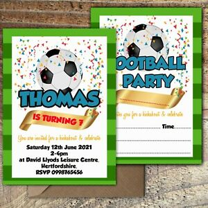 BIRTHDAY-INVITATIONS-Football-Soccer-Party-Personalised-or-Blank-Any-Age-PK-10