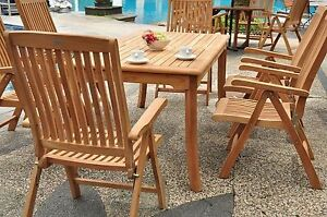 7 PC TEAK RECLINING CHAIRS GARDEN OUTDOOR PATIO FURNITURE MARLEY (83 RECT TBL)