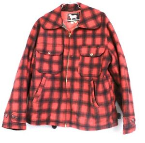 Woolrich-EARLY-Vtg-Men-s-M-Plaid-Red-Wool-Zip-up-Jacket-Coat-Hunting-Pocket