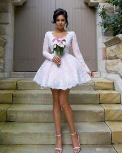 Short Wedding Dresses Long Sleeves A Line V Neck Knee Length Bridal