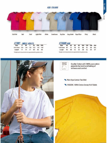 Kids Boys Girls Quality 100/% Cotton Jersey Knit Soft Comfort Tee shirt T-Shirt