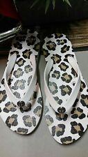 "Coach Alyssa 3/4"" White Flip Flops W/ Natural Beast Print Size 10-NEW.RETAIL:$78"