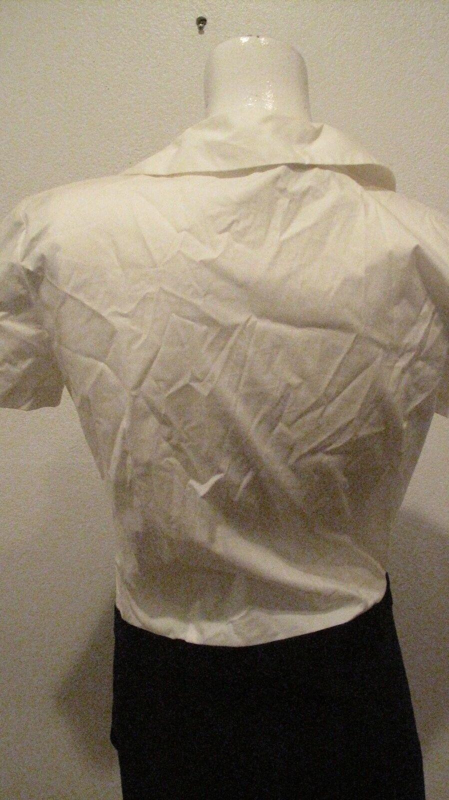 THEORY    NAMAS CANVAS WHITE NAVY SHORT SLEEVE DRESS MADE IN USA COTTON LYCRA SZ 4 13dfde