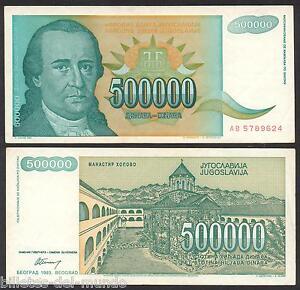 B-d-m Yugoslavia 500000 Dinara 1993 Pick 131 Mbc Vf Azgjd4kq-07221113-316989690
