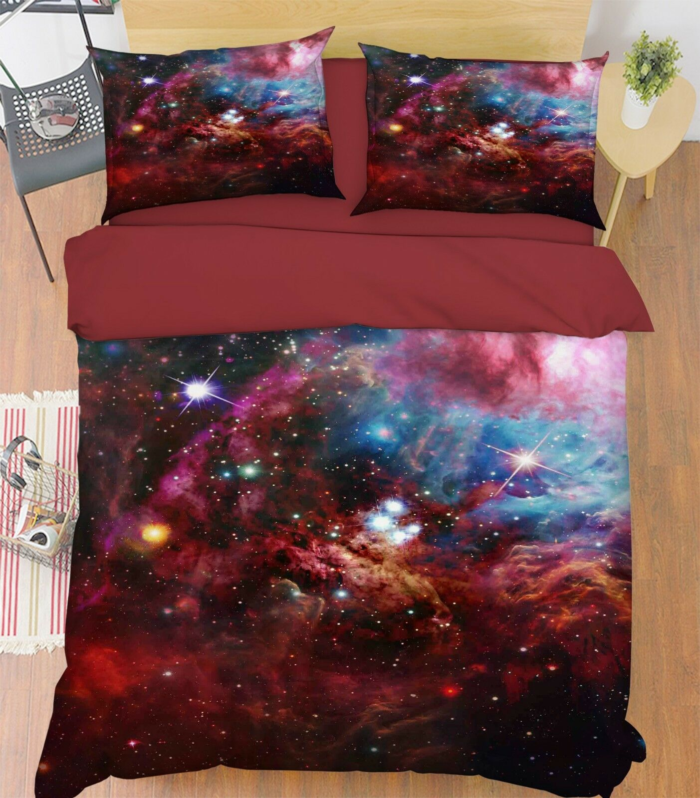 3D Starry Sky Cloud8 Bed Pillowcases Quilt Duvet Cover Set Single Queen AU Carly