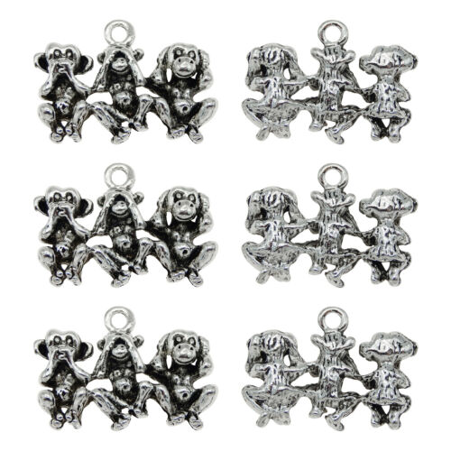 Retro Silver Alloy 26x19mm Three Monkey Baby Pendant Charms DIY Findings 20pcs