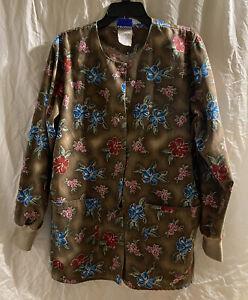 Landau Brown Floral Print Size Large Snap Up Scrub Jacket ...
