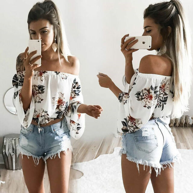 Women Ladies Off the Shoulder Crop Tops Tank Casual Floral T-Shirt Blouse