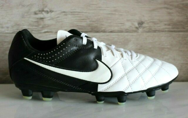 huge discount d2bfe 87482 Nike Tiempo Natural LTR IV FG White/Black Leather Soccer Cleats US-6.5 New  EU-39