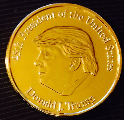 1 OZ 24K GOLD PLATED COPPER ROUND 45TH PRESIDENT OF THE US DONALD J TRUMP