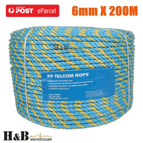 6mm x 200M Telstra Rope Parramatta Rope Coils Breaking Strength 595 KG T0243