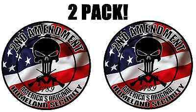 PUNISHER SKULL AMERICAN FLAG DECAL STICKER VINYL 2nd Amendment Gun Rights USA