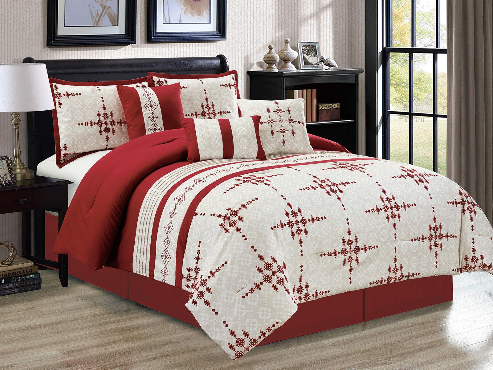 7-Pc Safi Diamond Star Embroidery Trellis Comforter Set Burgundy Red Beige King