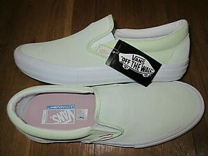 2ba4536711 Vans Mens Slip on Pro Ambrosia Green White Suede Canvas Skate shoes ...