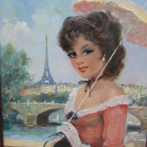 Tissot-Eugene-Junge-Dame-PARIS-Eifelturm-SEINE-Lady-Pariserin-Sonnenschirm