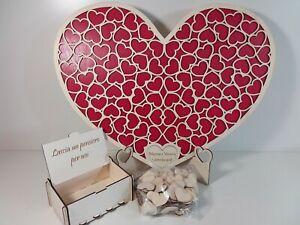 Guestbook matrimonio libro degli ospiti legno nozze puzzle cuore firma ospiti