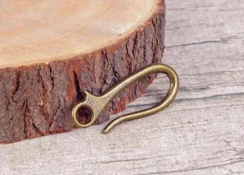 10PCS 64X23MM Retro Brass KeyChain Key Ring Belt U Hook Wallet Chain Fish Hook
