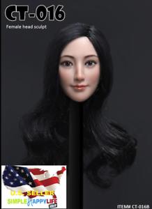 1/6 tête de femme cheveux longs noirs pour Phicen jouets chauds 12 1/6 Female Head Long Hair Black For Phicen Hot Toys 12
