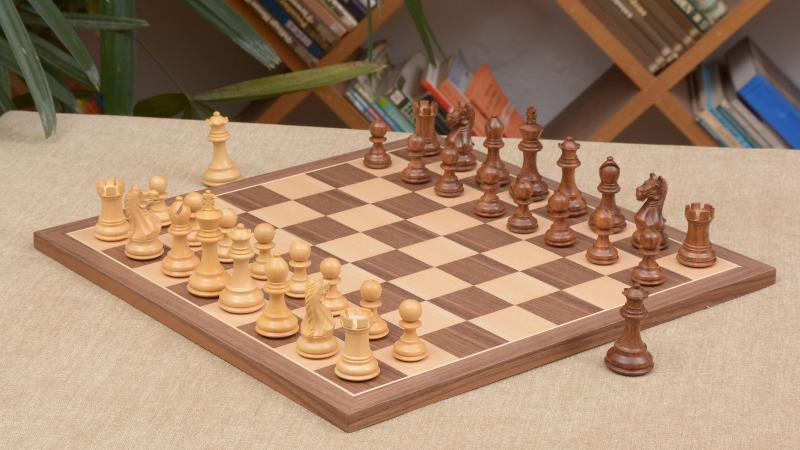 The Fierce Knight Combo of Sheesham Chess Pieces & Walnut Maple Chessboard