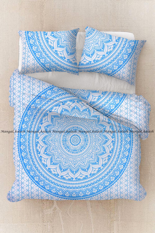 Indian ethnic ombre mandala duvet doona cover cotton quilt cover bedding set