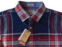 Men's Penguin Navy Blue Red White Plaid Flannel Shirt Slim Fit Medium M