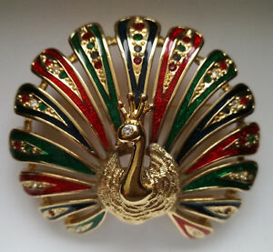 Bijou-BROCHE-brooch-crystal-enamel-bird-PEACOCK-PAON-dore-strass-email-Animal