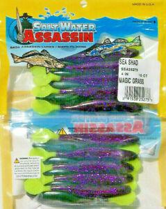 FREE-USA-SHIPPING-20-SALTWATER-BASS-ASSASSIN-4-034-MAGIC-GRASS-SEA-SHAD