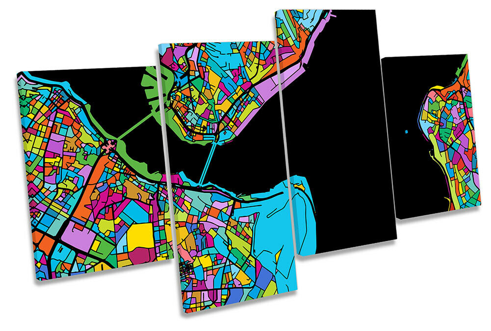 Istanbul City Modern Map Picture MULTI CANVAS WALL ART Print Multi-Colourot